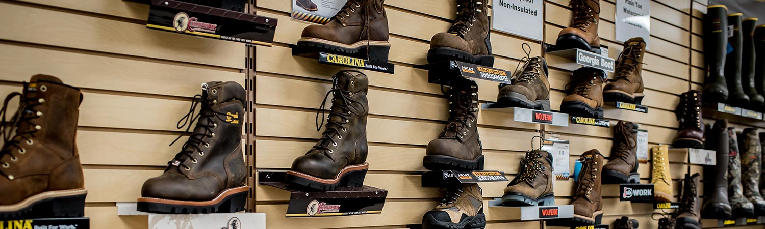 Walker's Farm steel toe boots wall