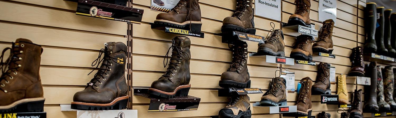 Walker's Farm steel toe boots wall
