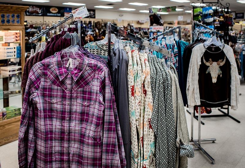 Cloths on rack