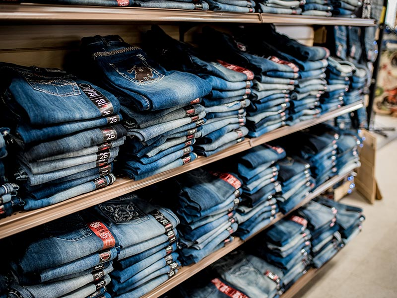 Walker's Farm jeans shelves