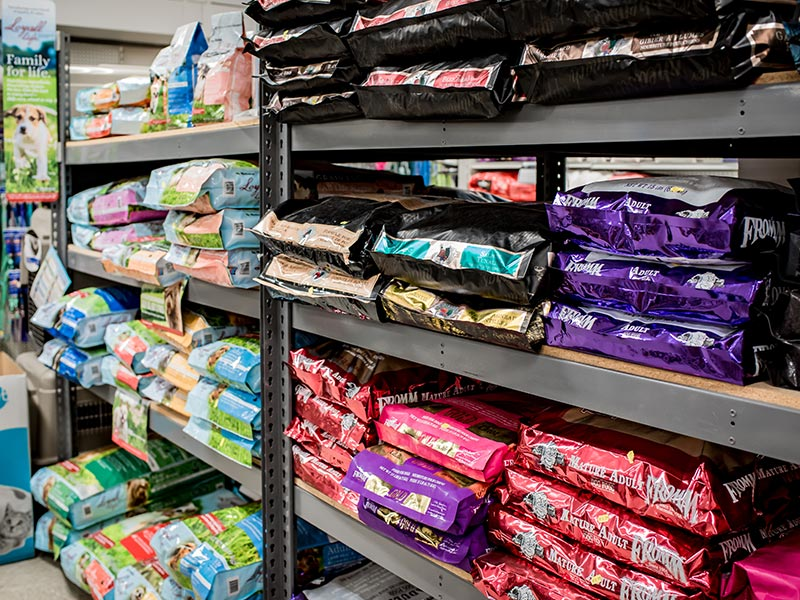 shelves with pet food bags