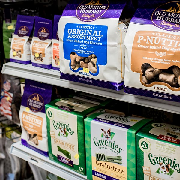 Pet treats on shelf